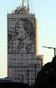 Edificio del Ministerio de Obras Públicas, rostro Eva Peron, Buenos Aires