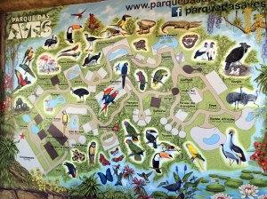 Parque de las aves, iguzau, mapa