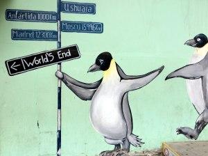 pintura mural pingüinos, Ushuaia