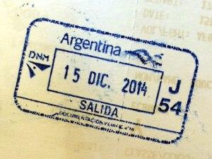 sello pasaporte salida Argentina