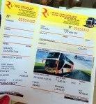ticket autobus, cataratas del Iguazu