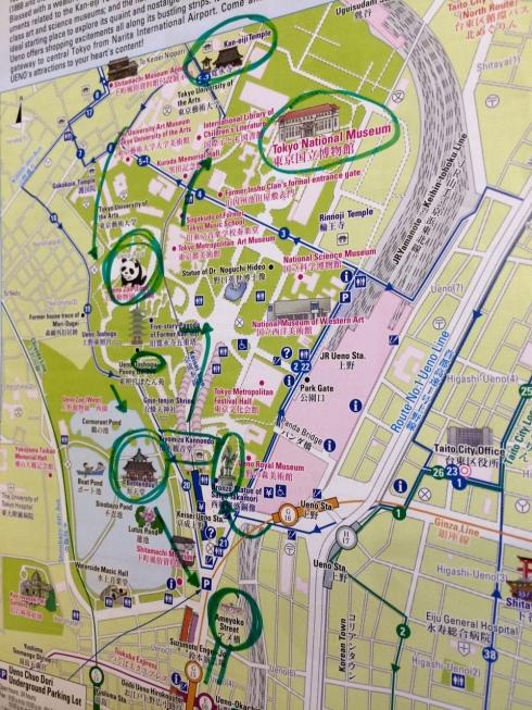 barrio de ueno marcado mapa