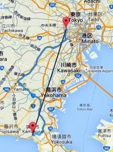 mapa distancia Tokio, Kamakura