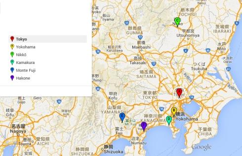 mapa itinerario japon, Tokio y alrededores