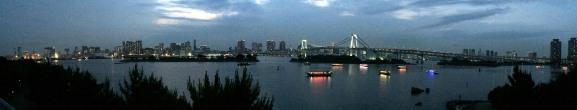 panoramica bahia tokio, desde Odaiba, noche