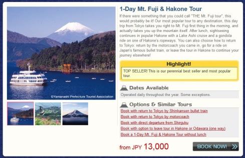info  Japanican tour Fuji