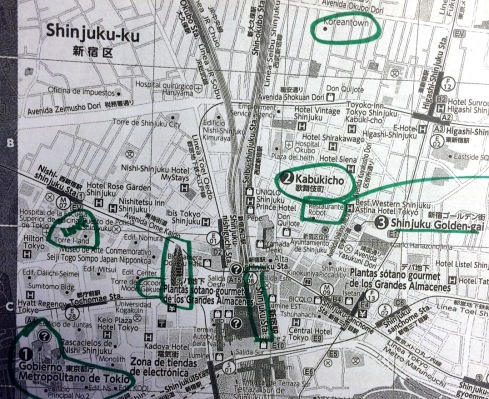 mapa Shinjuku - Tokio