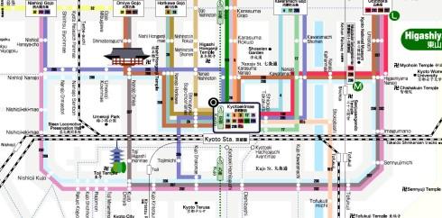 ejemplo rutas autobus Kioto