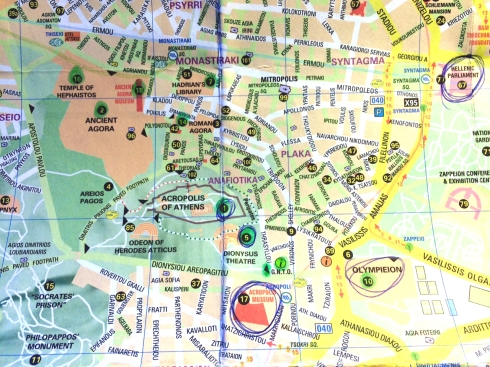 mapa centro de Atenas