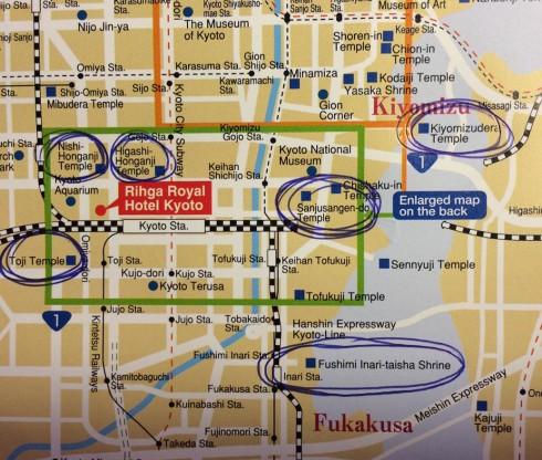 mapa cerca hotel Rihga royal kioto