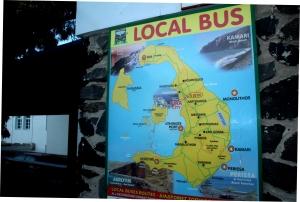 mapa local bus Santorini