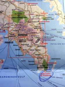 mapa templo de poseidon, atenas