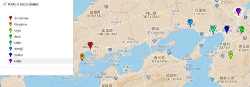 mapa viaje Kioto y excursiones