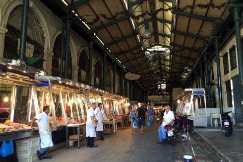 Mercado central de Atenas, puestos de carne