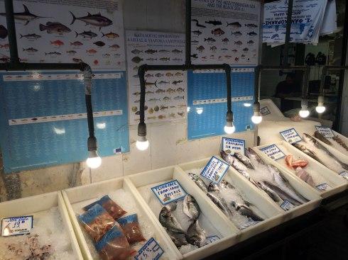 Mercado central de Atenas, puestos de pescado