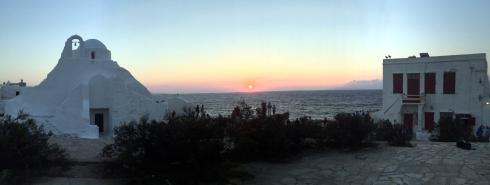 panoramica atardecer Mikonos