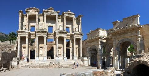 panoramica Biblioteca de Celso, ruinas Efeso