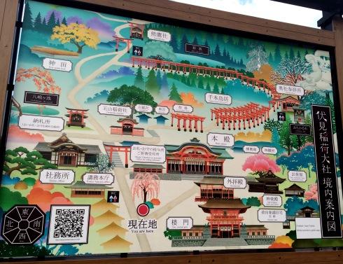 Templo Fushimi Nari, mapa