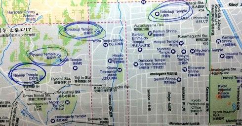 mapa noroeste Kioto, Pabello dorado