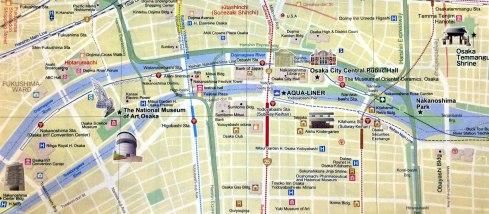 mapa Osaka, River Cruise