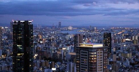 Shin Umeda city, Osaka, vistas anochecer