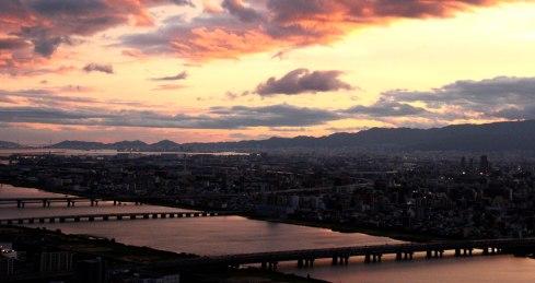 Shin Umeda city, Osaka, vistas atardecer