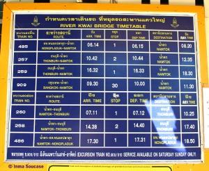 horario trenes puente rio Kwai