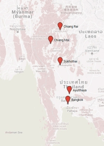 mapa paradas - norte Tailandia