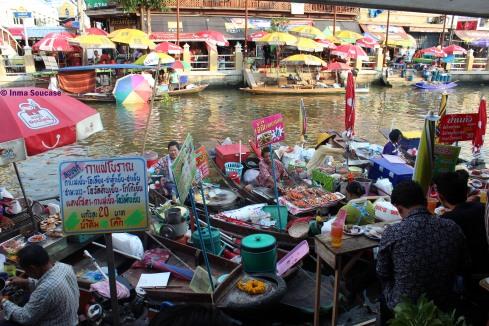 Mercado flotante Amphawa, puestos comida