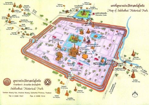 Parque Histórico de Sukhothai - mapa