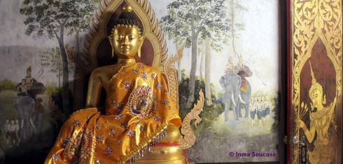 Templo Doi Suthep, Chiang Mai - detalle Buda pintura