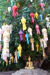 wat phantao, chiang mai - decoracion buda farolillos