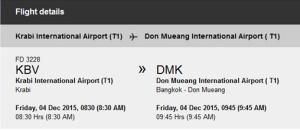 avion Krabi - Bangkok