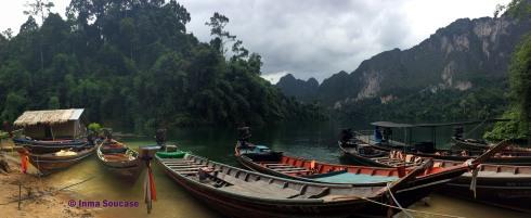 Lago Cheow Lan, embarcadero Coral Cave panoramica