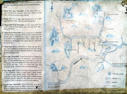 parque nacional Khao sok - camino trekking jungla mapa