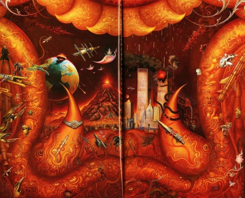 Wat Rong Khun - puertas interior, boca demonio